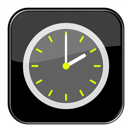 seem: Glossy black button - 14 2 o clock