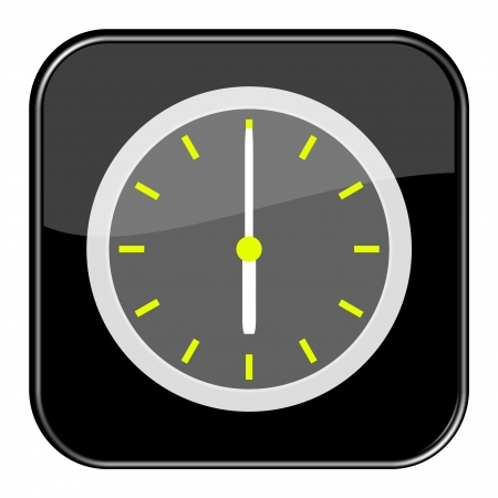 seem: Glossy black button - 18 6 o clock