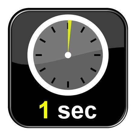 Glossy black button - Clock 1 second