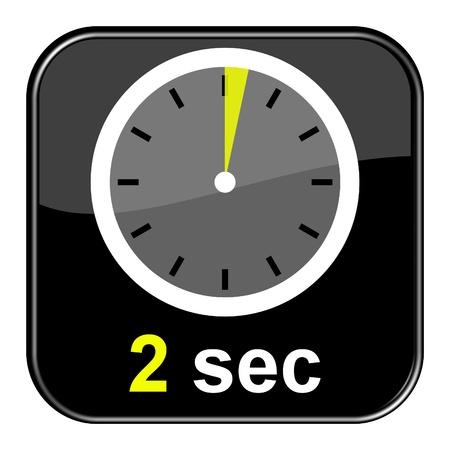 Glanzend zwarte knop - Klok 2 seconden Stockfoto