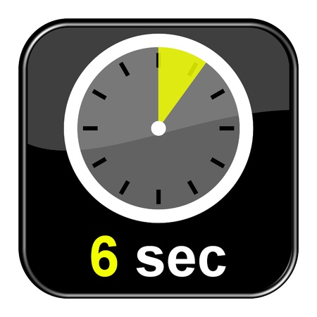 seconds: Glossy black button - Clock 6 seconds