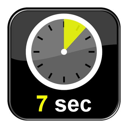 sec: Glossy black button - Clock 7 seconds Stock Photo