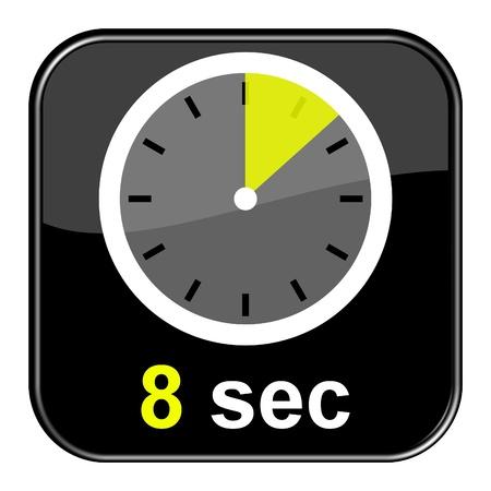 sec: Glossy black button - Clock 8 seconds Stock Photo