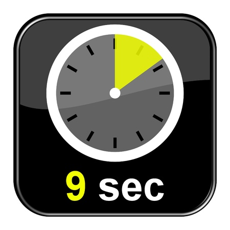seconds: Glossy black button - Clock 9 seconds Stock Photo