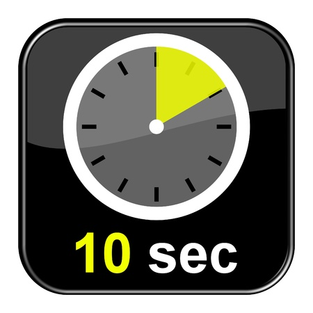 Glossy black button - Clock 10 seconds Stock Photo