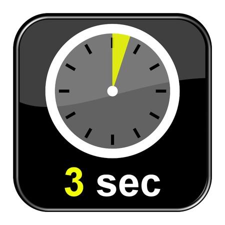 Glanzend zwarte knop - Klok 3 seconden Stockfoto