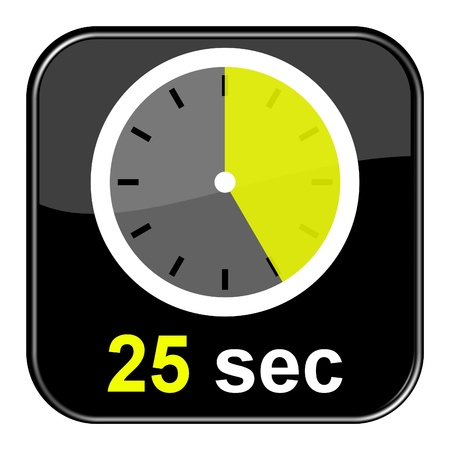 sec: Glossy Button black - Clock  25sec Stock Photo