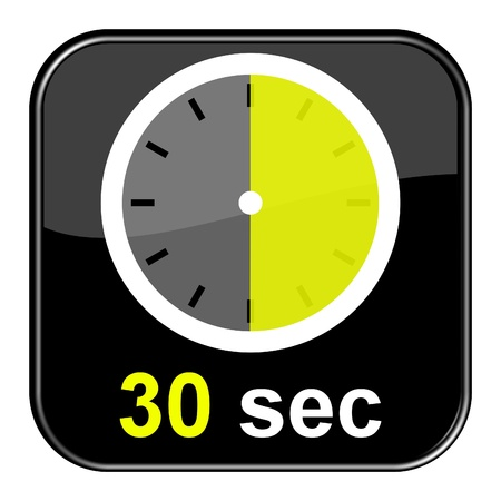 Glossy Button black - Clock  30sec