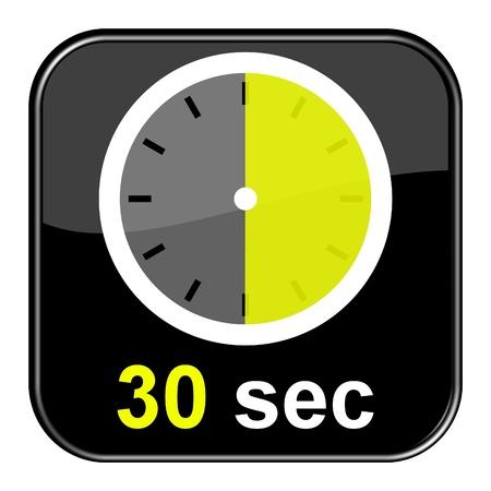 Glossy Button schwarz - Clock 30sec