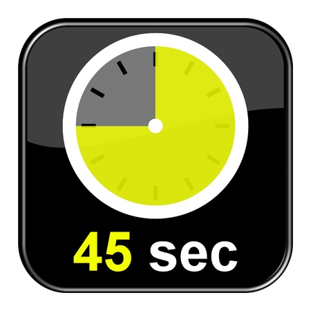 Glossy Button black - Clock  45sec Stock Photo - 13983821