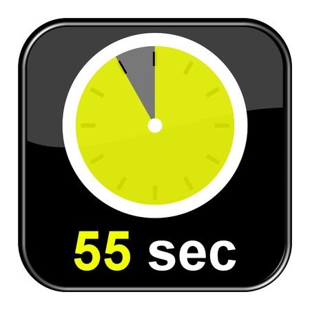 seem: Glossy Button black - Clock  55sec