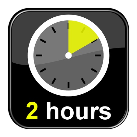 Glossy black button - 2h Clock Stock Photo