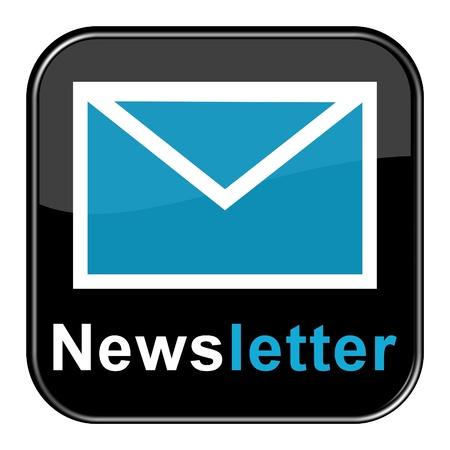 Glossy Button - Blue Newsletter Stockfoto