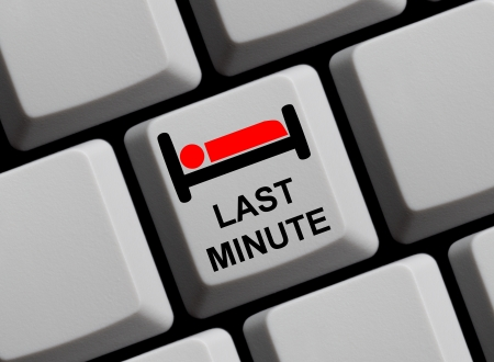 favorable: Last Minute booking online Stock Photo