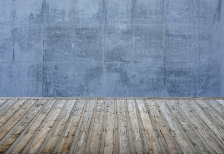 Empty room with brick wall and wooden floor Stock Photo - 16465187