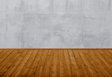 Grey Grounge Wall with brown wooden floor