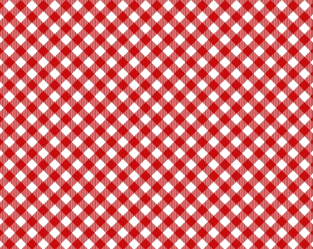 Red white checkered tablecloth with diagonal stripes photo