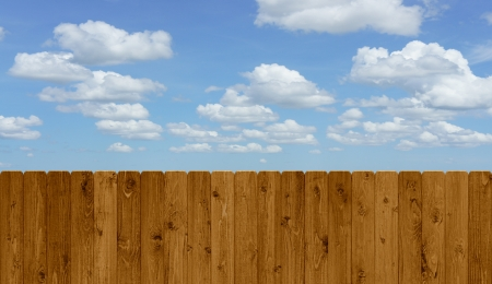 perpendicular: Wooden fence and sky Stock Photo