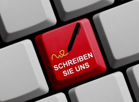 write us: Write us - german Stock Photo