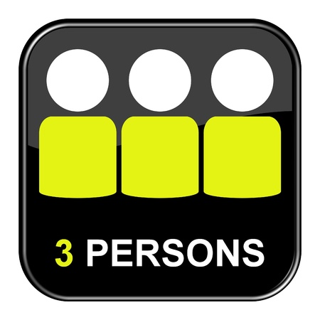 3 persons: Button 3 persons Stock Photo
