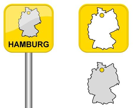 carte allemagne: Hambourg - lieu Signe de nom, Button et Allemagne carte Banque d'images