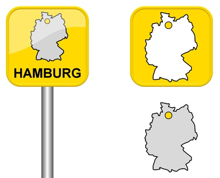 cordially: Hamburg - place name sign, Button, and Germany map