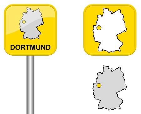 carte allemagne: Dortmund - lieu Signe de nom, Button et Allemagne carte Banque d'images