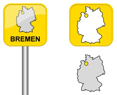 bremen: Bremen - place name sign, Button, and Germany map