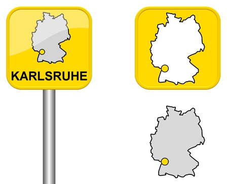 karlsruhe: Karlsruhe - Town sign, button and Germany Map Stock Photo