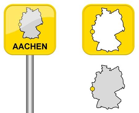 carte allemagne: Aachen - signe Town, bouton et l'Allemagne Carte