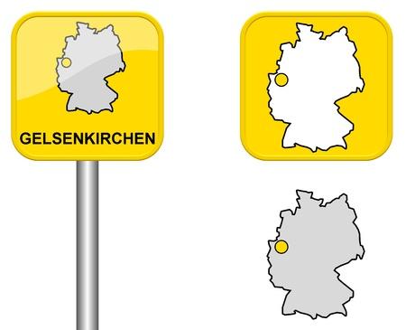 carte allemagne: Gelsenkirchen - signe Town, bouton et l'Allemagne Carte Banque d'images