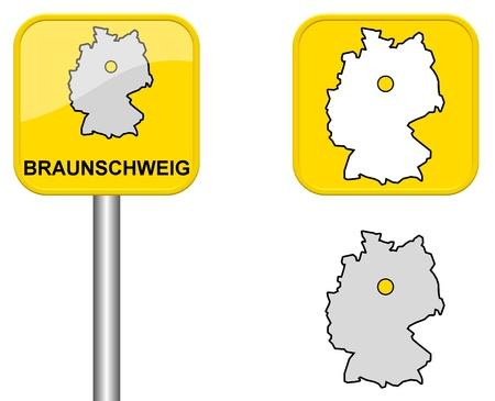 carte allemagne: Braunschweig - signe Town, bouton et l'Allemagne Carte Banque d'images