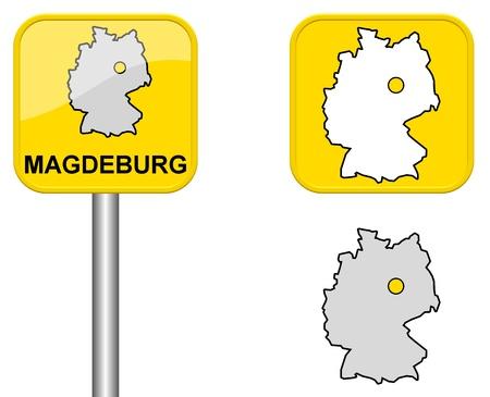 carte allemagne: Magdeburg - signe Town, bouton et l'Allemagne Carte