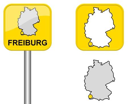 carte allemagne: Freiburg - signe Town, bouton et l'Allemagne Carte Banque d'images