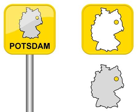 carte allemagne: Potsdam - panneau de la ville, le bouton et l'Allemagne Carte