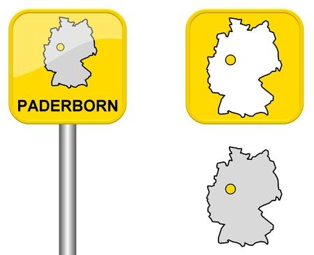 carte allemagne: Paderborn - panneau de la ville, bouton et l'Allemagne Carte