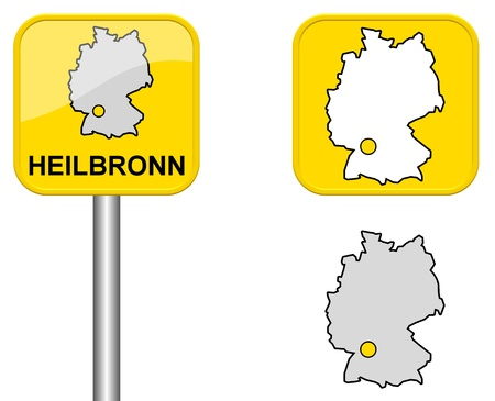 Heilbronn Town Sign Button And Germany Map Stock Photo Picture