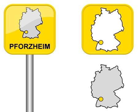 carte allemagne: Pforzheim - signe Town, bouton et l'Allemagne Carte Banque d'images