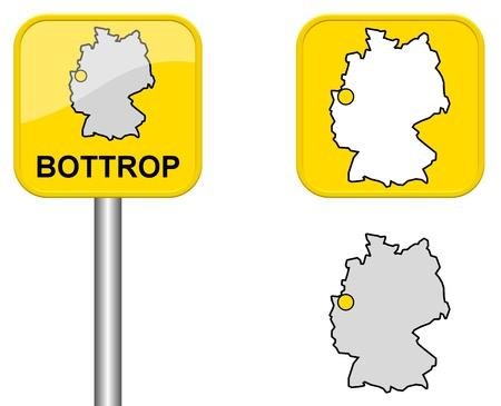 carte allemagne: Bottrop - Signe de ville, bouton et l'Allemagne Carte Banque d'images