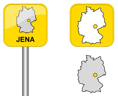 cordially: Jena - Town sign, button and Germany Map