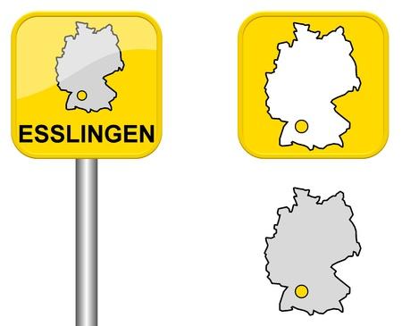 carte allemagne: Esslingen - signe Town, bouton et l'Allemagne Carte