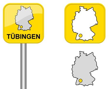 carte allemagne: T�bingen - signe Town, bouton et l'Allemagne Carte