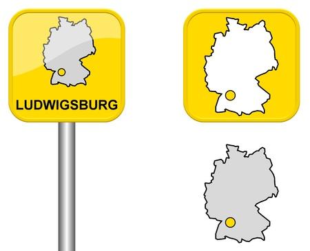 carte allemagne: Ludwigsburg - signe Town, bouton et l'Allemagne Carte Banque d'images