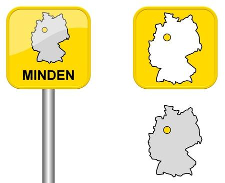 carte allemagne: Minden - signe Town, bouton et l'Allemagne Carte Banque d'images