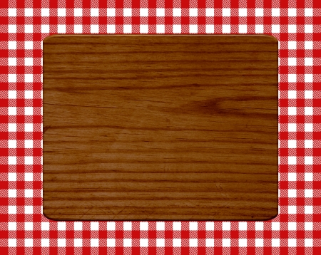 Wooden board on white red pattern photo