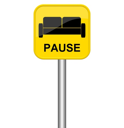 closing time: Yellow sign with Sofa symbol break