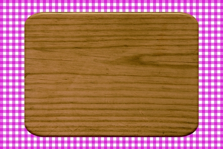 Wooden board on a pink tablecloth pattern Stock Photo