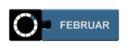 Puzzle button black and blue  February photo
