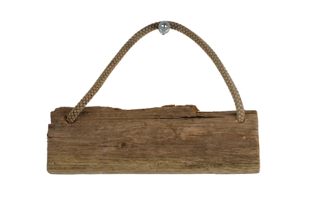 An isolated old wooden board with rope for hanging photo