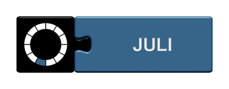 day planner: Puzzle button black and blue  July